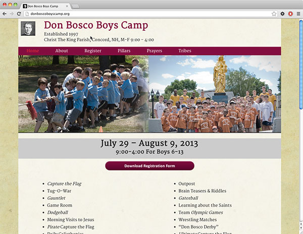 Don Bosco Boys Camp Website Design